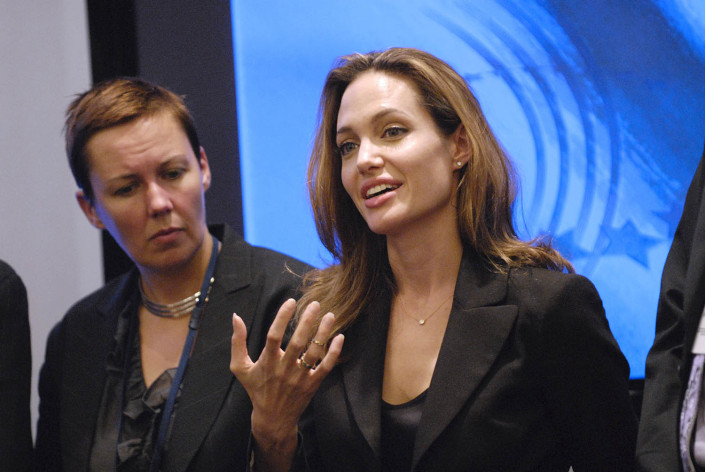 UNHCR Goodwill Ambassador Angelina Jolie speaks at a conference.
