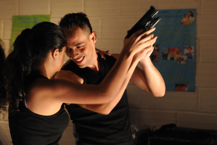 Colombian Actors participate in a theater production on political violence.