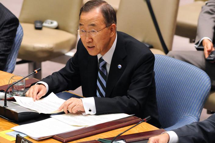 UN Secretary-General Ban Ki-moon addresses a UN Security Council Meeting at UN Headquarters.