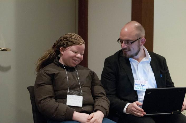 Disabilities activists confer.