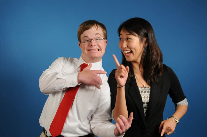 Studio portrait of disability activist Special Olympics Athlete Jared Niemeyer, 22, and Special Olympics International Global Youth Activation Program Specialist Jenny Zhong