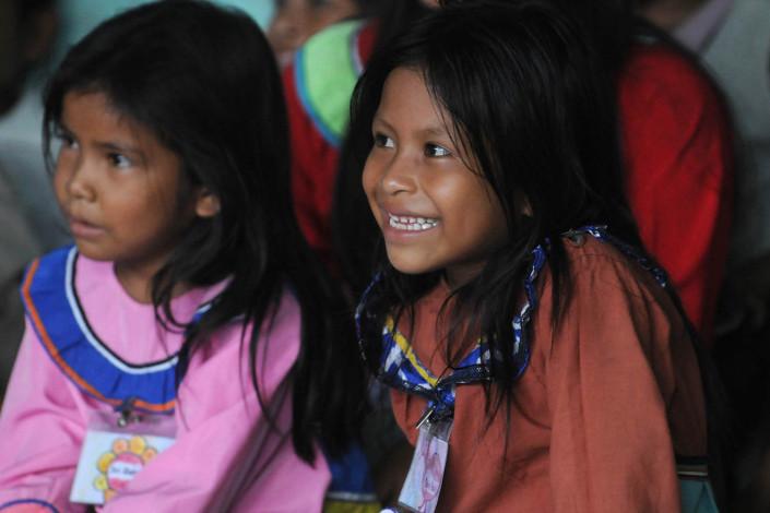 Girls participate in a language class in the indigenous Shipibo-Conibo community of Nuevo Saposoa in the Peruvian Amazon.