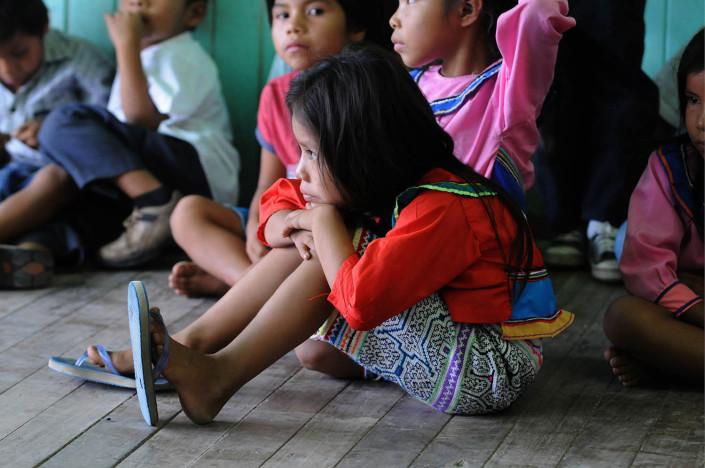 Children participate in a language class in the indigenous Shipibo-Conibo community of Nuevo Saposoa in the Peruvian Amazon.