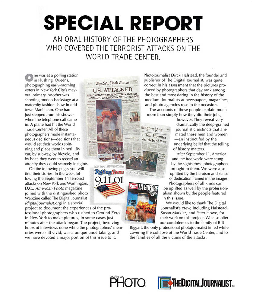 Screen capture of AmericanPHOTO magazine introduction to their September 11 terrorist attacks cover story.