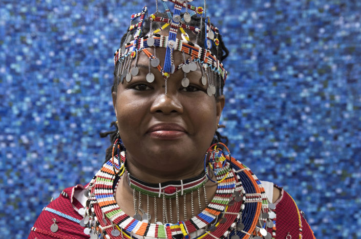 Portrait of a Masai woman wearing traditional and colorful wedding costume