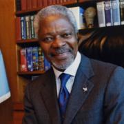UN Secretary-General Kofi Annan at his desk in UN Headquarters.