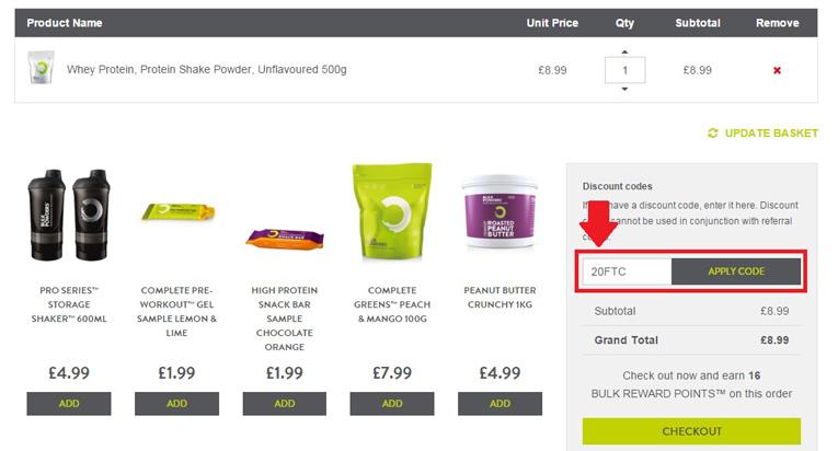 applying a bulk powders discount code