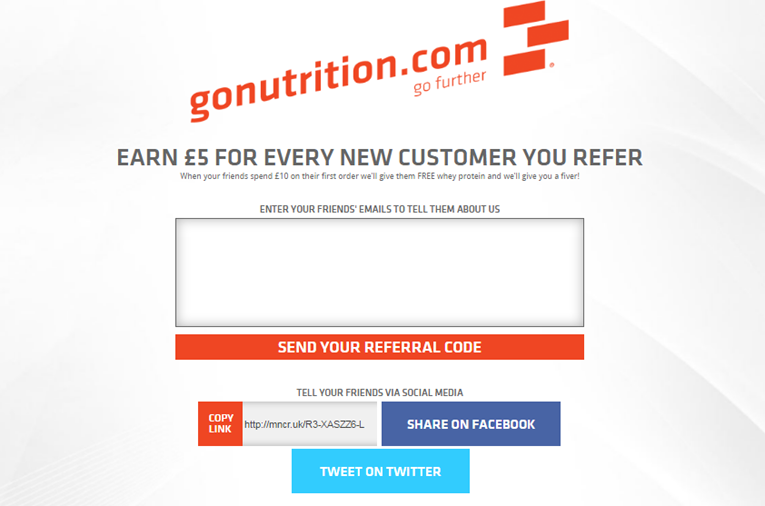 Where to enter the email addresses of referred friends on Go Nutrition
