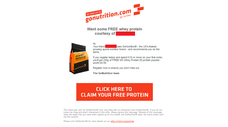 Email received when a friend has been referred to Go Nutrition
