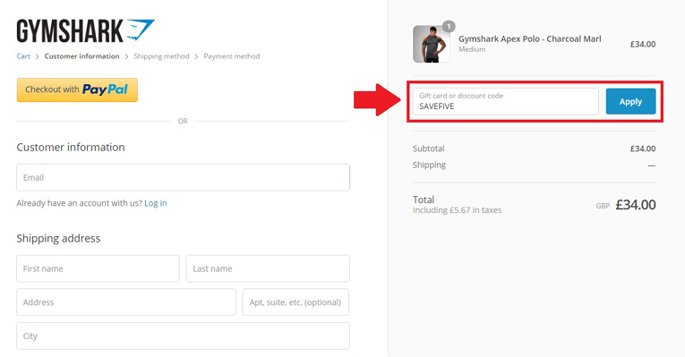 Gymshark discount code (how to apply)