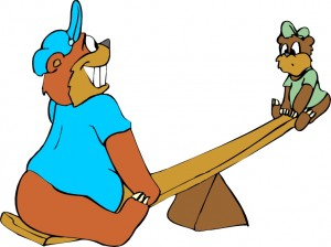 fat cartoon-bear-see-saw