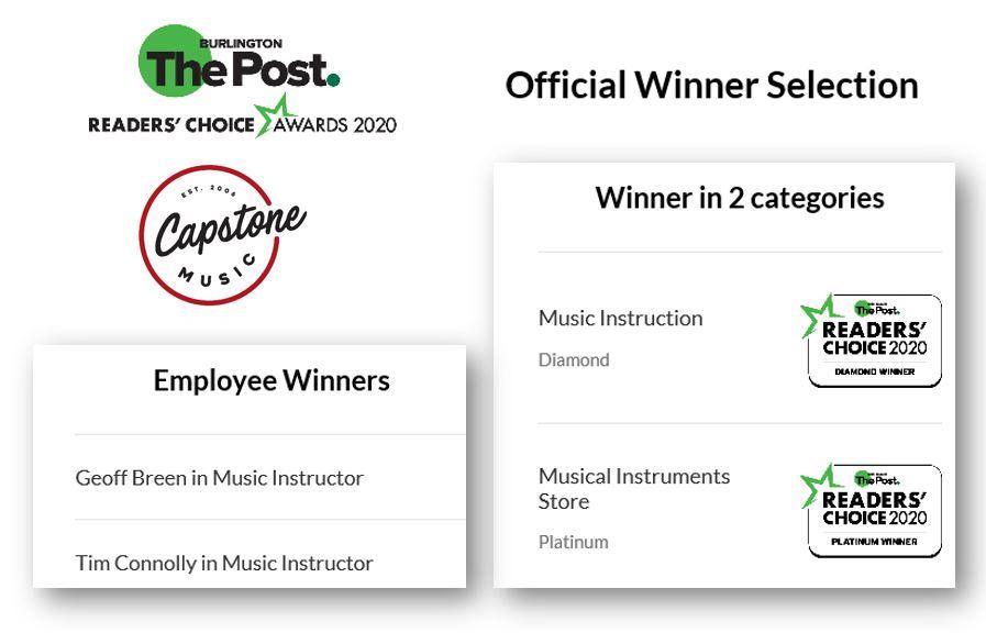 Capstone Music Named Best Music Instruction, Best Instructors: Reader's Choice Diamond Winner