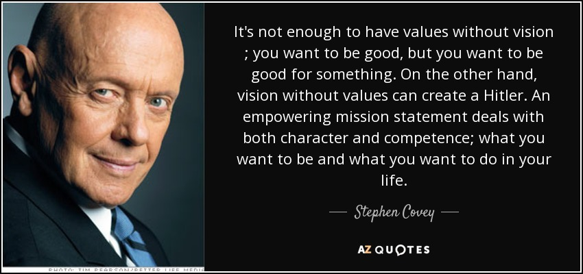 Mission Statements and why they matter, Steven Covey Quote
