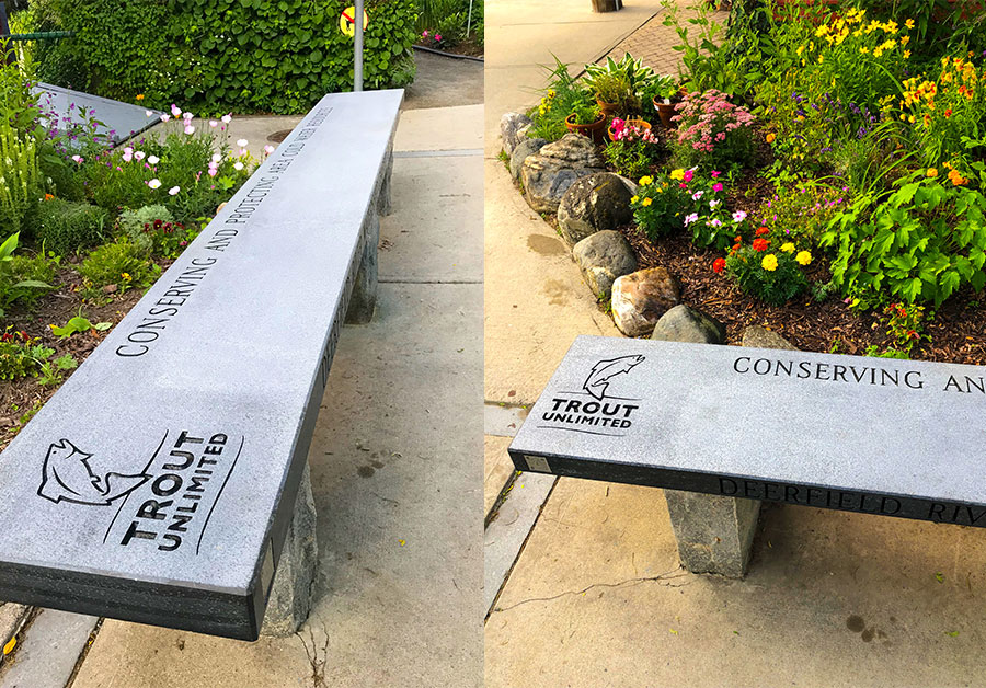 Two views of the DRWTU bench at the Bridge of Flowers in Shelburne Falls