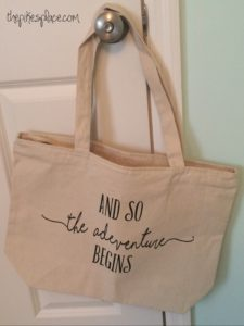 DIY your own And So The Adventure Begins Honeymoon Tote Bag with a Cricut or die cut machine and iron on vinyl