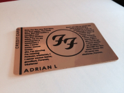 foo fighters tribute 24k gold metal credit card