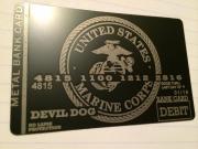 Custom Black Metal Credit Card USMC