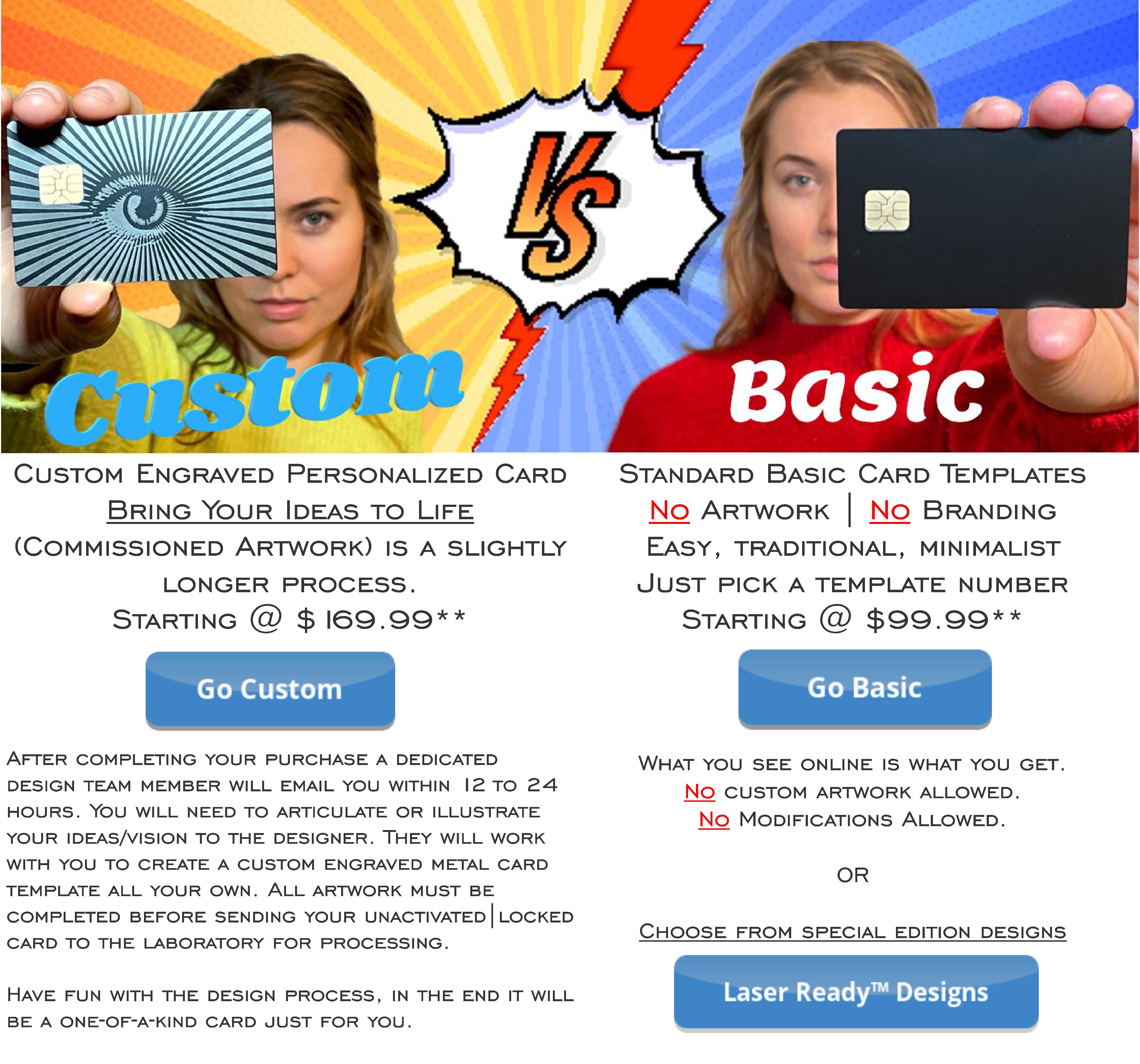 Custom Vs Basic Metal Card Options