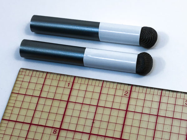 two SALT style replacement heads for mouth sticks beside a ruler showing they measure 2.25 inches.
