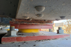 March 2021 - A new bearing plate installed between a bridge beam and support column.