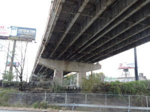 Photo of section of viaduct showing deterioration of the steel superstructure.
