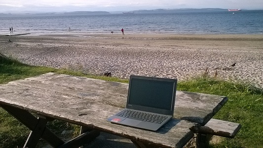 writing by the beach