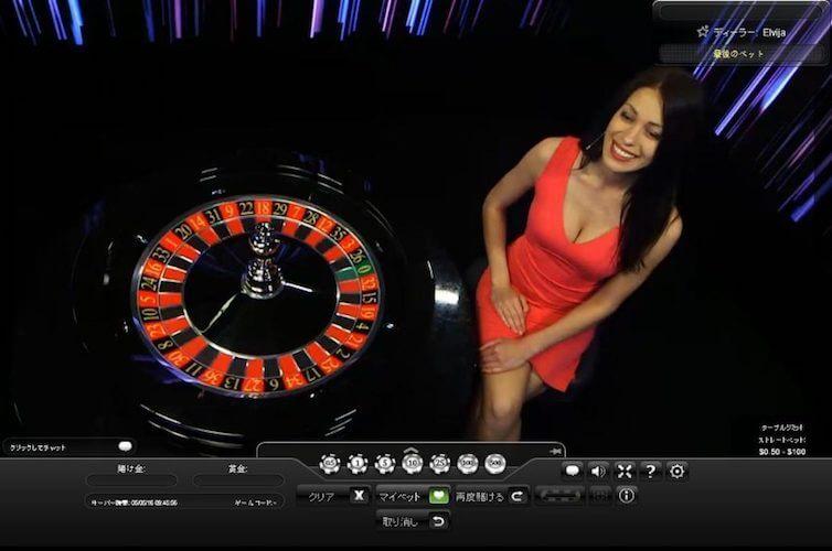 オンラインカジノのライブルーレットの画面