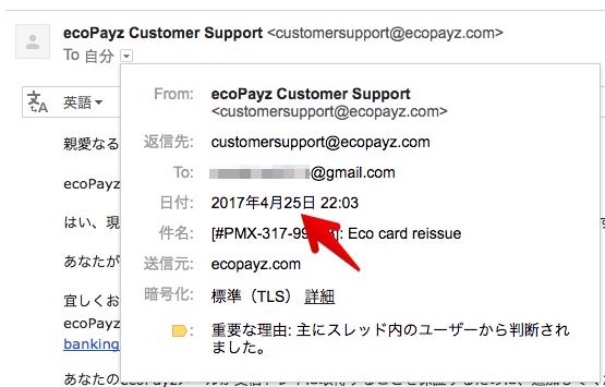 エコペイズのサポートにメールを出した日付の写真