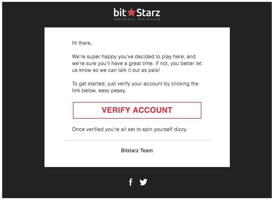 ビットスターズオンラインカジノ新規登録画面の写真