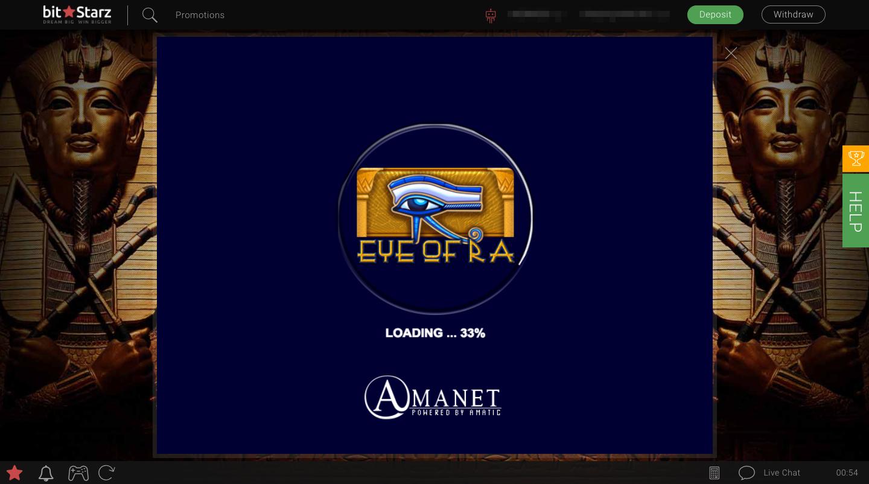 ビットスターズのオンラインスロット選択画面Eye of Ra