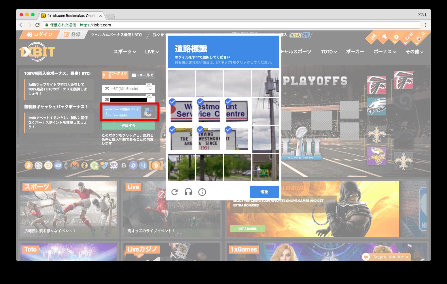 ワンバイビット登録時にグーグルの画像認証する画面