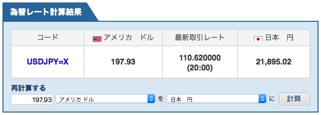 ヤフーファイナンスのUSDと日本円のレート画面の写真