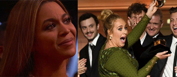 Watch: Adele Breaks Her Grammy To Share It With Beyonce!!