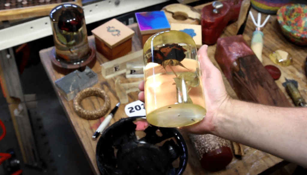 Items encased in resin can end up in a state that you might not want them to, such as this entombed rose