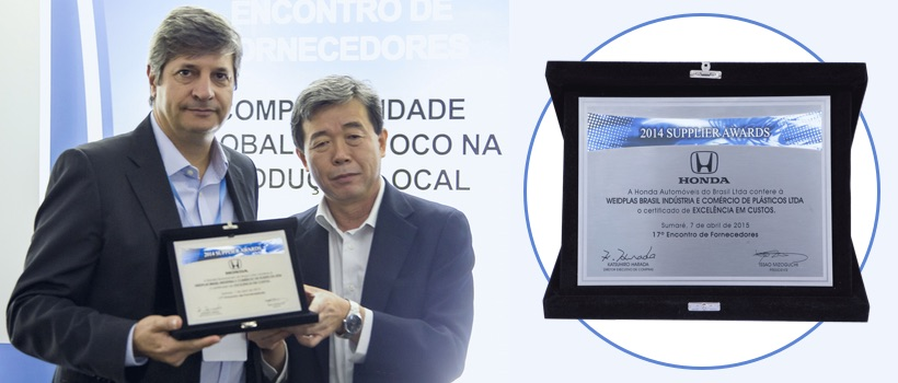 WEIDPLAS Brazil receives Award from  HONDA!