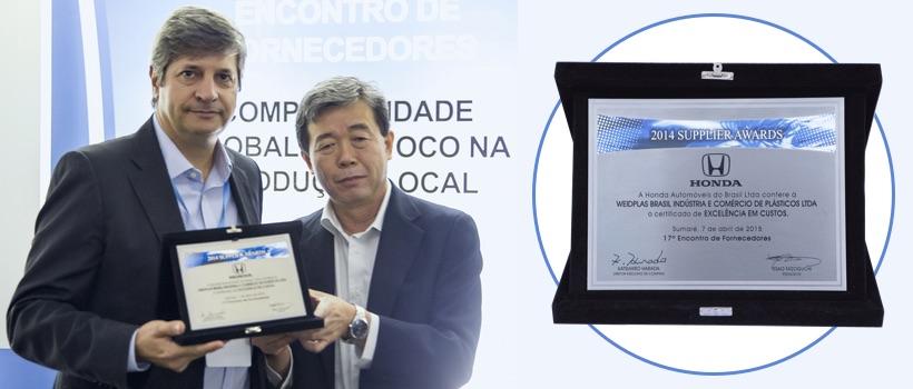 WEIDPLAS Brazil receives Award from  HONDA!