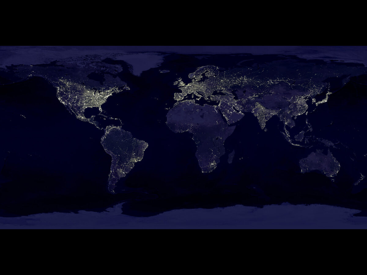 The Earth's lights as seen from space. Image and caption adapted from NASA's Earth Observatory. Credit: Data courtesy of Marc Imhoff of NASA GSFC and Christopher Elvidge of NOAA NGDC. Image by Craig Mayhew and Robert Simmon, NASA GSFC.