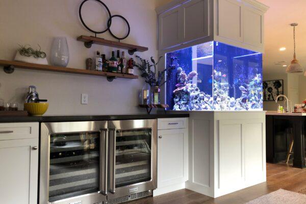 custom aquarium design in kitchen