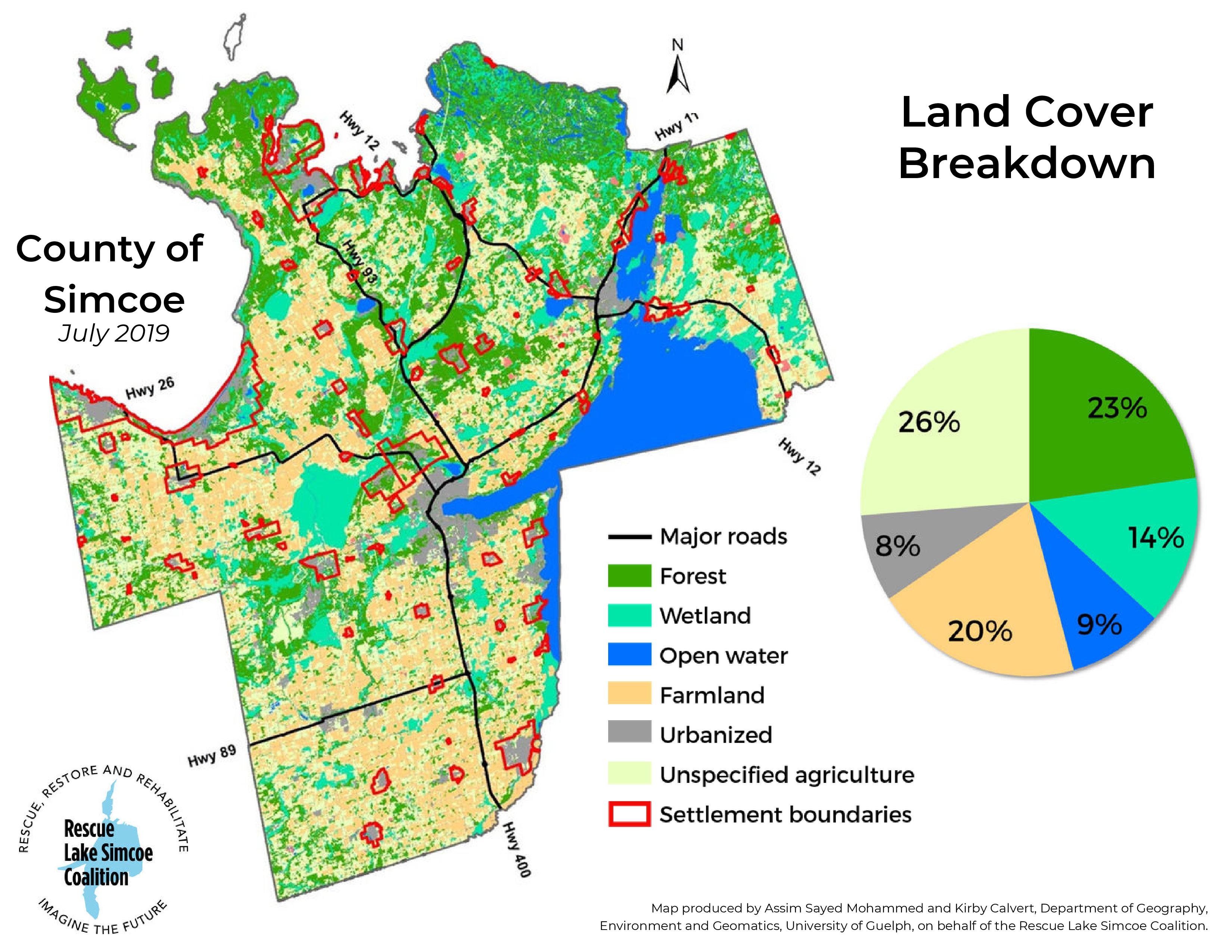 Land Cover Break Drown Simcoe County