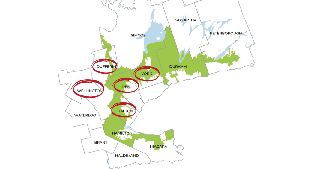 Map showing popular horse areas in ontario