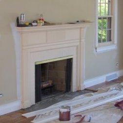 custom fireplace enclosure & mantel