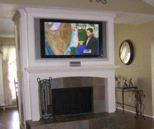 Fireplace mantel enclosure built in tv