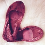 "My beat up ""there's no place like home"" sparkly, red snakeskin foldables from H&M."