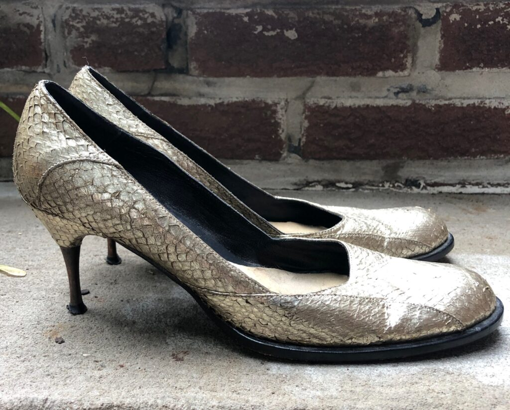 gold fish skin shoes