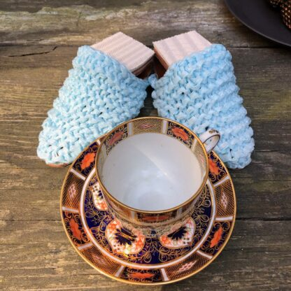 blue fold with cup and saucer