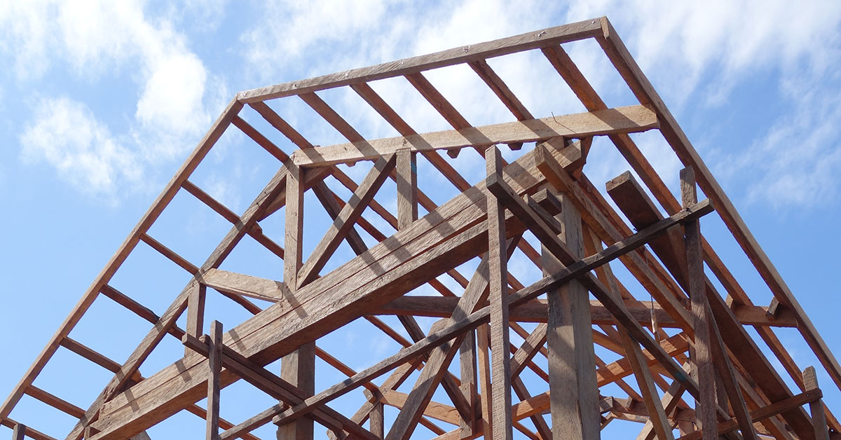 Timber framing of house walls and roof