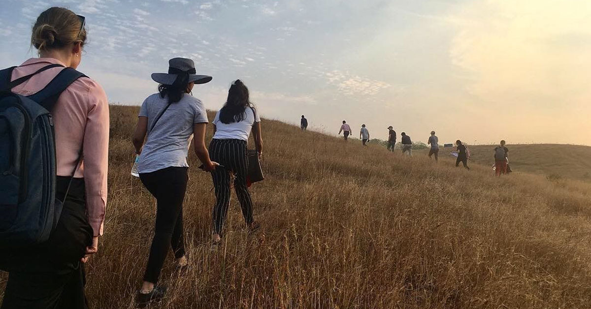 Students walk through field up hill