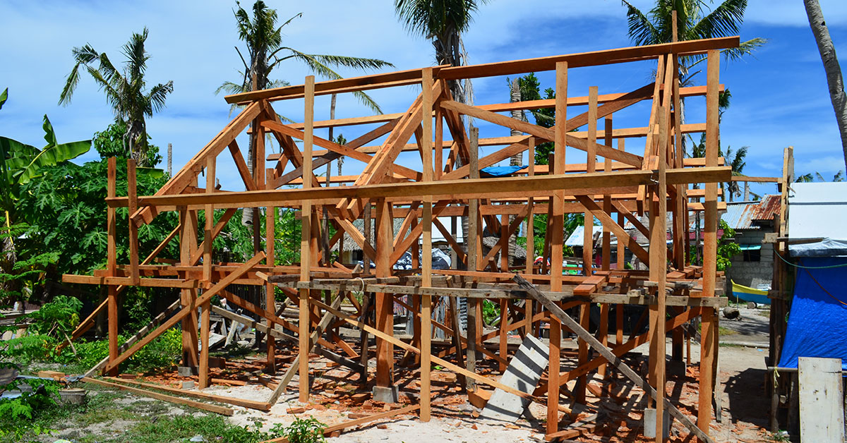 Timber framing of house under construction