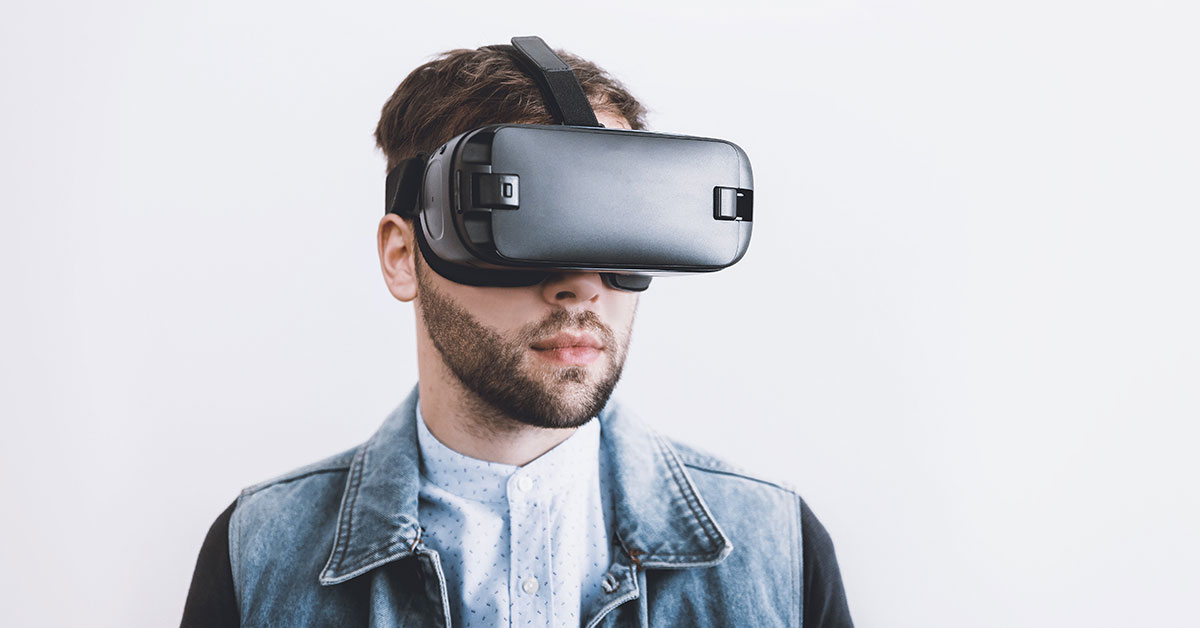 Person with virtual reality headset
