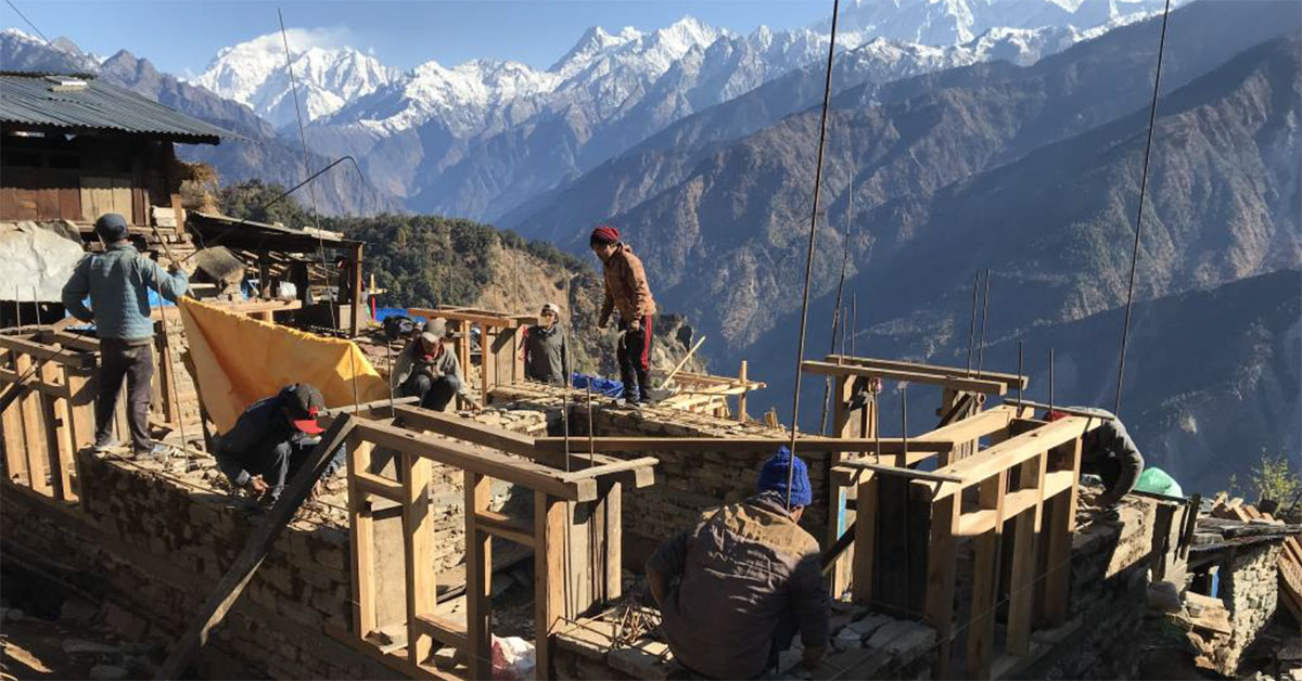 Housing under construction in Nepal